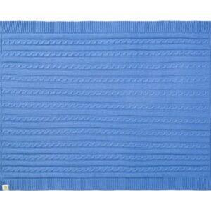 Strikket Økologisk tæppe 75 x 100 cm - Blå
