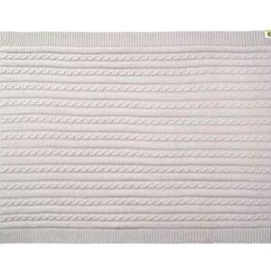 Strikket Økologisk tæppe 75 x 100 cm - Lysegrå
