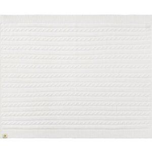 Strikket Økologisk tæppe 75 x 100 cm - Hvid