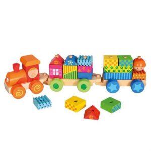 Tog med klodser - Bino Toys