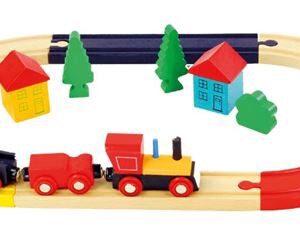 Tog med bane og tilbehør - Bino Toys