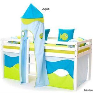 Aqua forhæng til halvhøje senge 160 cm - Hoppekids